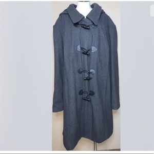 Catherine's womens 3X coat jacket zipper hooded gray Plus Size Shoulder Pads